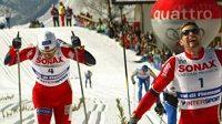Norský běžec na lyžích Thomas Alsgaard (uprostřed)