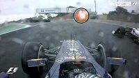 Snímek ze záběru kamery na voze Sebastiana Vettela jasně ukazuje, že německý jezdec předjížděl Japonce Kobajašiho, když u trati svítilo žluté světlo.