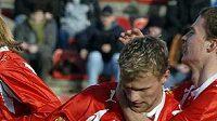 Radost útočníka Plzně Adama Varadiho (vlevo) po gólu v utkání proti Brnu - ilustrační fotografie