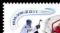 Poštovní známka s motivem hokejové parádičky Mikaela Granlunda na MS na Slovensku.