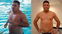 Brazilec Ronaldo před a po dietě.