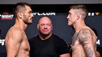 Machmud Muradov (vlevo) před zápasem s Geraldem Meerschaertem na turnaji UFC on ESPN 30.