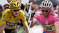 Alberto Contador (vpravo) chce po Giru triumfovat i na Tour. Zkříží mu plány Chris Froome?