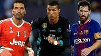Zleva Gianluigi Buffon, Cristiano Ronaldo a Lionel Messi kandidují na nejlepšího fotbalistu UEFA za sezónu 2016/2017.