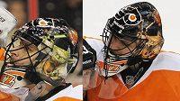 Hokejový brankář Ilja Bryzgalov s maskou před a po.