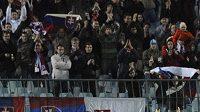 Slovenský fotbalista Marek Hamšík oslavuje s fanoušky gól v přípravě proti USA.
