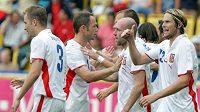 Radost českých fotbalistů v utkání proti Belgii