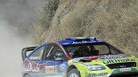 Finský pilot týmu Ford Mikko Hirvonen na trati Australské rallye.