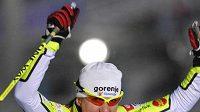 Slovinská lyžařka Petra Majdičová se raduje v Oberhofu.