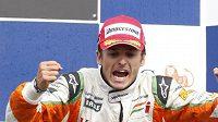 Giancarlo Fisichella na stupních vítězů při GP Belgie