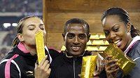 Tyčkařka Jelena Isinbajevová, vytrvalec Kenenisa Bekele a běžkyně Sayna Richardsová (zleva) v Bruselu