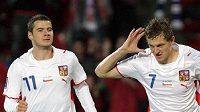 Tomáš Necid oslavuje svůj gól v utkání proti Polsku.