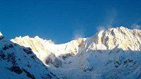 Pohled na Annapurnu (8091 metrů) a její jižní stěnu.
