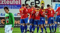 Radost hráčů Plzně po vyhraném zápase v Jablonci - ilustrační foto