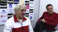 Fotbalový trenér Luboš Kozel (vpravo) ještě coby asistent libereckého kouče Ladislava Škorpila
