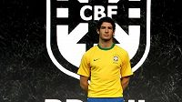 Brazilský fotbalový reprezentant Alexandre Pato při prezentaci dresů určených pro nadcházející mistrovství světa.