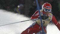 Lyžařka Šárka Záhrobská na trati slalomu SP - ilustrační fotografie.