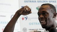 Jamajský sprinter Usain Bolt na tiskové konferenci v Ostravě