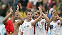 Radost českých reprezentantů po přípravném utkání proti Belgii