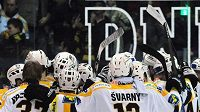 Hokejisté Litvínova se radují z vítězství.