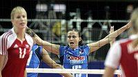Italka Antonella Del Core oslavuje jeden z bodů proti českým volejbalistkám.