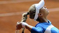 Ruská tenistka Anna Kurnikovová při exhibici na turnaji v Prostějově.
