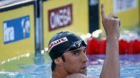 Michael Phelps po vítězném závodě na 200 m motýlek