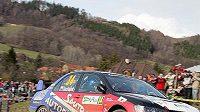 Sláva Ducháček s vozem Mitsubishi Lancer EVO IX na trati Valašské rallye. Ilustrační foto.