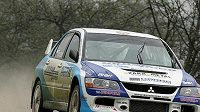 Karel Trojan za volantem Mitsubishi Lancer EVO IX při Rally Vyškov.
