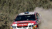 Martin Prokop s vozem Mitsubishi Lancer EVO IX na trati Rallye Akropolis.