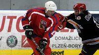 Exhibiční hokejové utkání týmů legend Česká republika - Washington Capitals v Plzni. Domácí Bohuslav Ebermann (vlevo) a Paul MacKinnon z Washingtonu.