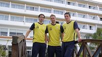 Fotbalisté Teplic na soustředění na Kypru. Zleva Antonín Rosa, Milan Matula a Tomáš Grigar