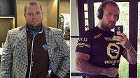 Peter Benko před MMA a po zápase v kleci. Ze 140 kilo se dostal hodně pod metrák, sundal 50 kilo.