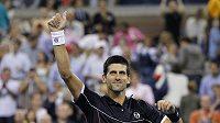 Srb Novak Djokovič se raduje z postupu do 3. kola US Open - ilustrační foto.