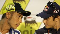 Valentino Rossi (vlevo) a Dani Pedrosa při tiskové konferenci na Sachsenringu.