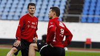 Daniel Pudil (vlevo) a Libor Sionko na tréninku národního týmu