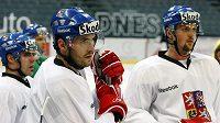 Martin Lojek (vpravo) a Petr Čáslava na tréninku hokejové reprezentace