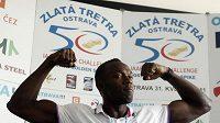 Běžec Usain Bolt na tiskové konferenci před Zlatou tretrou
