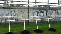 Na tréninkovém hřišti Slavie v Edenu se objevily čtyři hroby s kříži pro Aleše Řebíčka, Františka Straku, Miroslava Platila a Adama Řebíčka...
