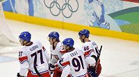 Čeští hokejisté v zápase s Lotyšskem