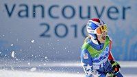 Americká lyžařka Lindsey Vonnová v cíli olympijského sjezdu