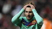 Zklamaný Lionel Messi z Barcelony