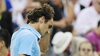Roger Federer bezprostředně po prohře s Novakem Djokovičem v semifinále US Open.