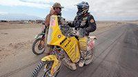 Jezdec týmu KM Racing David Pabiška při Rallye Dakar 2010.