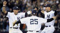 Baseballisté New Yorku Yankees se radují z postupu do Světové série
