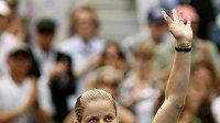 Belgická tenistka Kim Clijstersová se raduje z postupu do semifinále US Open.