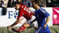 Reprezentační útočník Milan Baroš střílí vedoucí branku v utkání proti Lichtenštejnsku.