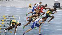 Ulitý start v podání Usaina Bolta (zcela vpravo). Jamajčan se právě připravil o šanci obhájit na MS v korejském Tegu zlato.