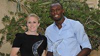 Australská překážkářka Sally Pearsonová a jamajský sprinter Usain Bolt při vyhlášení atletických cen v Monte Carlu.