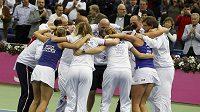Česká radost pár minut po výhře ve Fed Cupu v Moskvě.